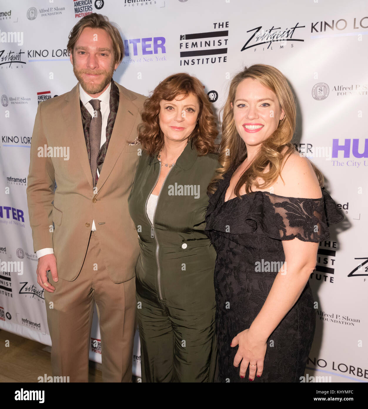 New York, USA. 20th Nov, 2017. (L-R) Adam Haggiag, Susan Sarandon and Alexandra Dean attends Theatrical opening - Stock Image