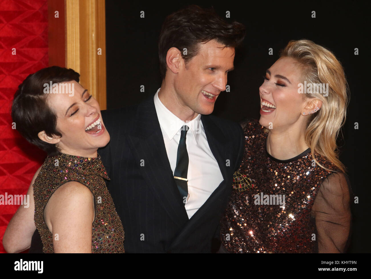 London, UK. 21st Nov, 2017. Nov 21, 2017 - Claire Foy, Matt Smith and Vanessa Kirby attending 'The Crown' - Stock Image