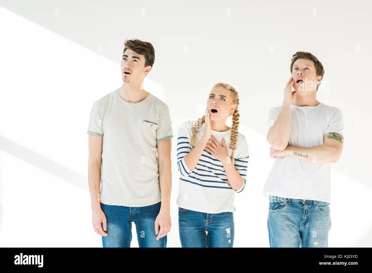 young shocked friends - Stock Image