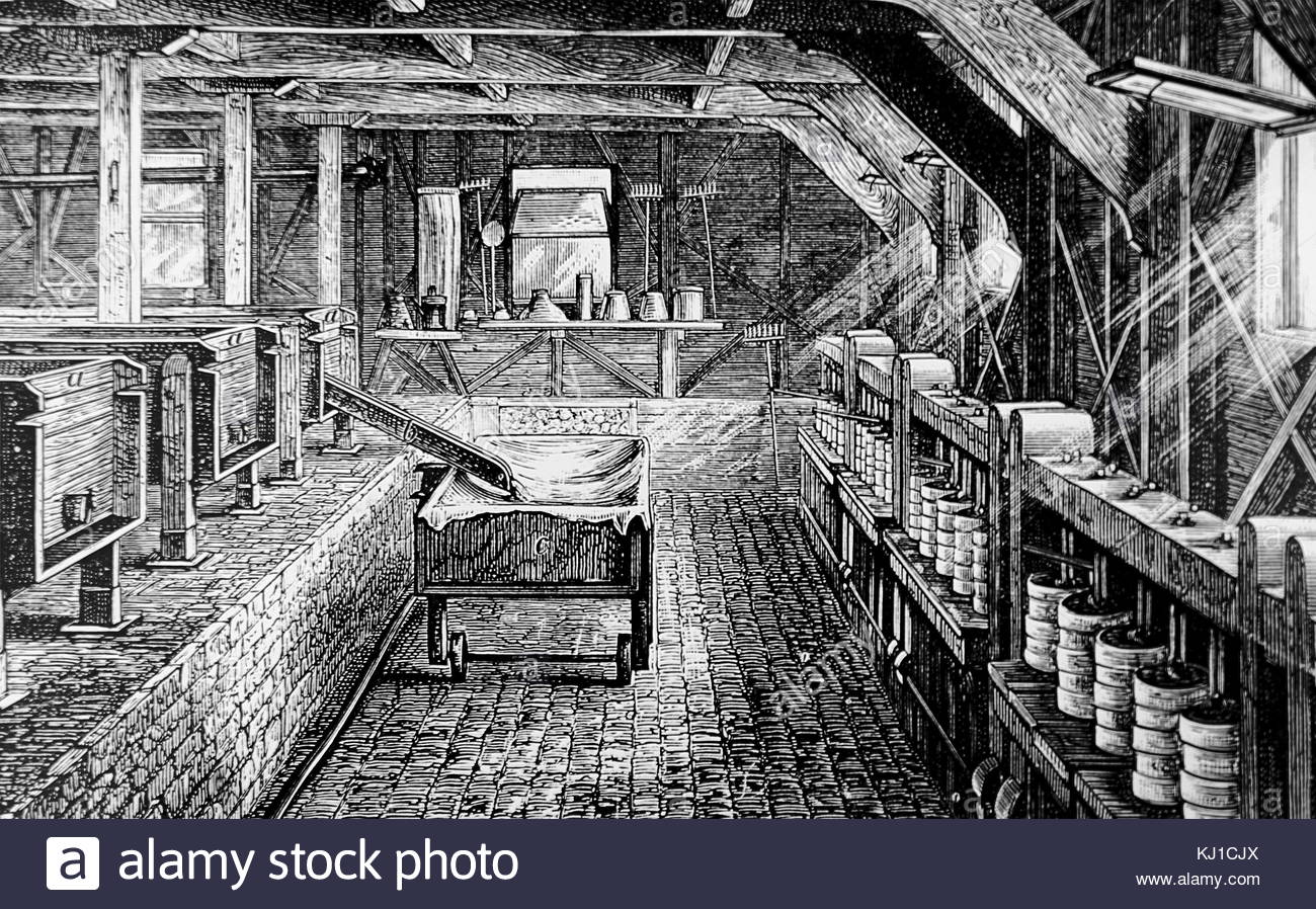 Engraving depicting the interior of the Longford Cheese Factory, the first to be built in England. The making-room: - Stock Image
