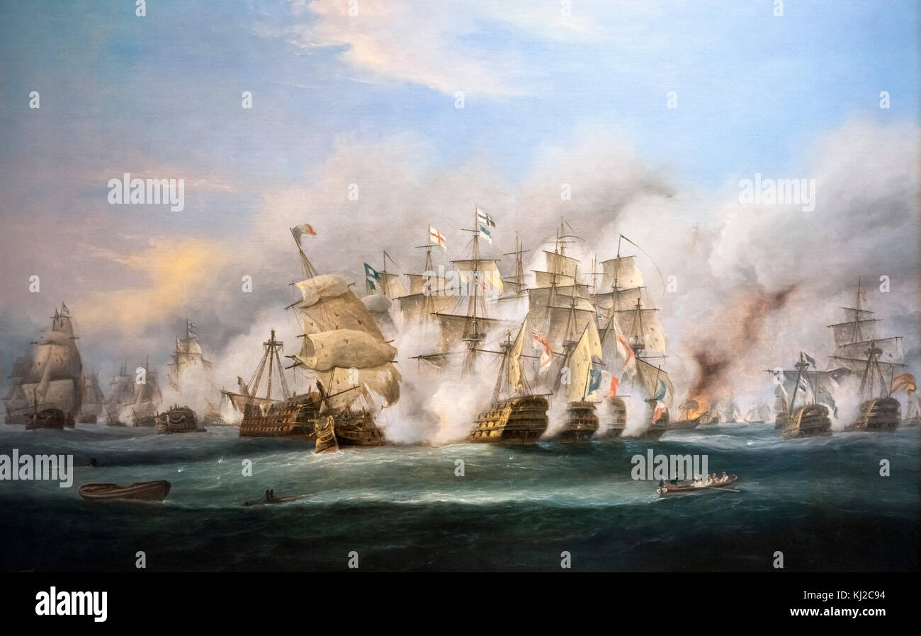 'The Battle of Trafalgar' by Thomas Luny. The painting shows the battle at around 2.30pm on 21st October - Stock Image