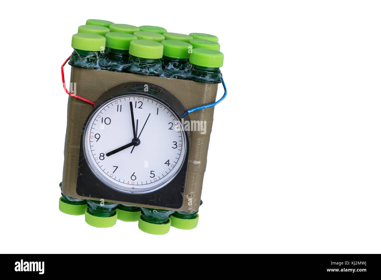 Imitation of timed bomb. Dangerous time bomb on white background. Isolated. - Stock Image