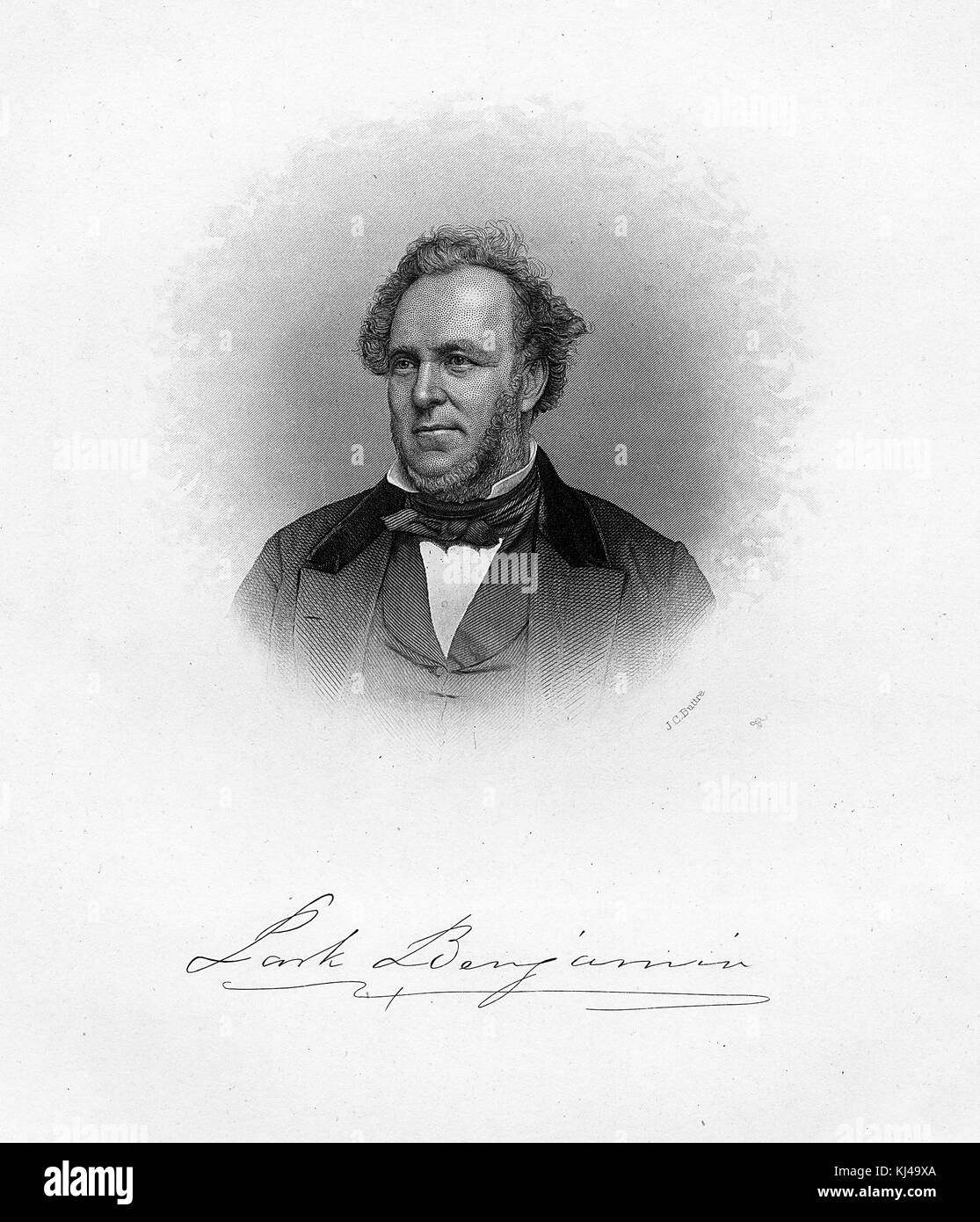 Engraved portrait of Park Benjamin, American poet, journalist, editor and founder of several newspapers, by JC Buttre, - Stock Image