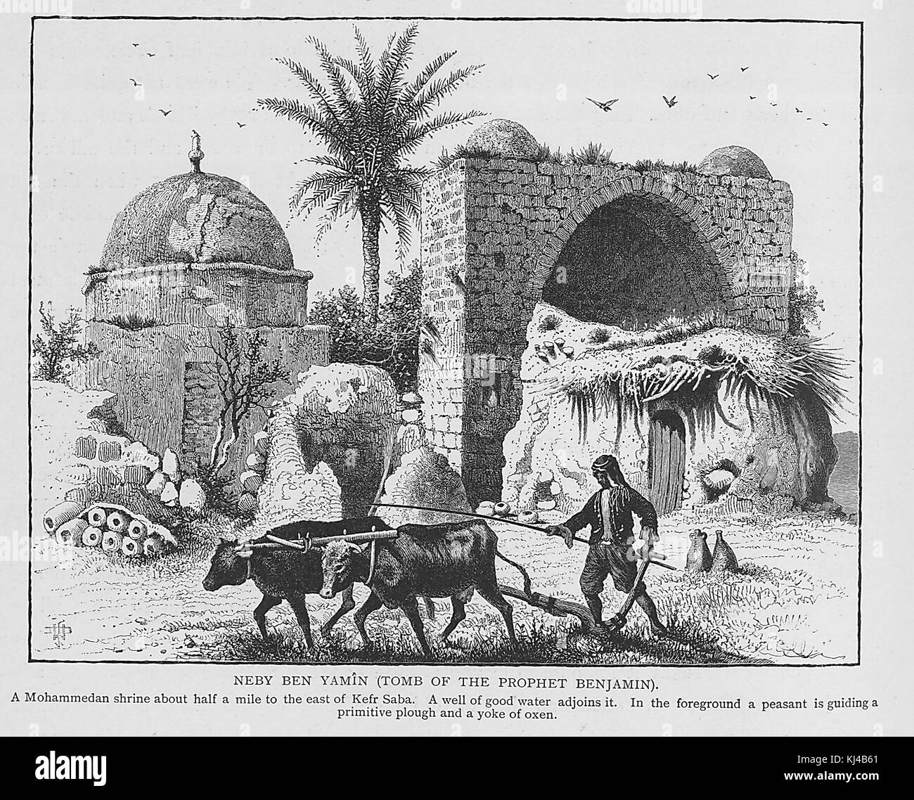 Wood engraving titled Neby ben Yamin (Tomb of the prophet Benjamin), a Mohammaden shrine about half a mile to the - Stock Image