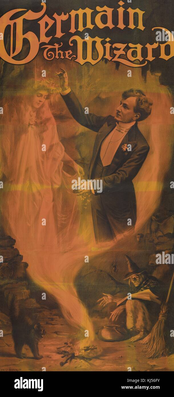 A poster for Germain the Wizard, a witch appears to be conjuring an image of Germain in the midst of a performance - Stock Image