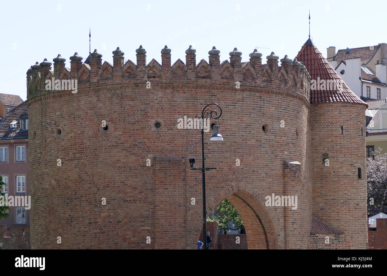 gate tower, inside a section of the medieval wall in Warsaw Old Town is the oldest part of the capital city. During - Stock Image