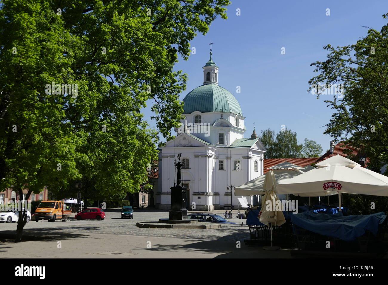 St. Kazimierz Roman Catholic church in Warsaw's New Town, Warsaw Poland. In 1688-92 the Kotowski residence was - Stock Image