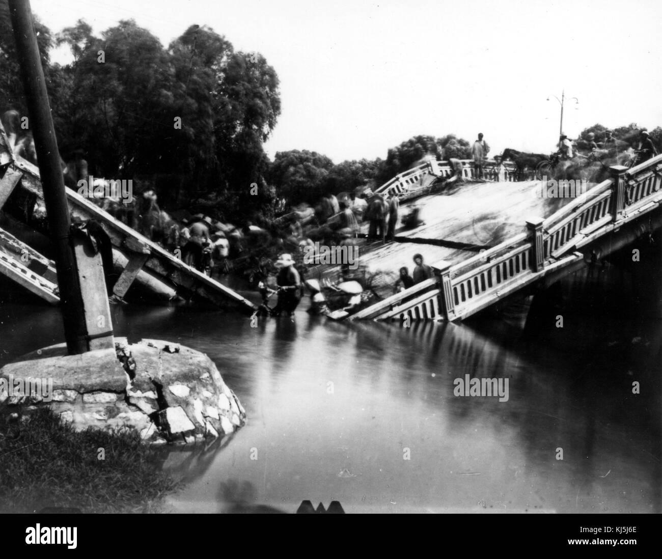 Tangshan, China, Earthquake July 28, 1976 The Chengli Bridge in Tangshan - Stock Image