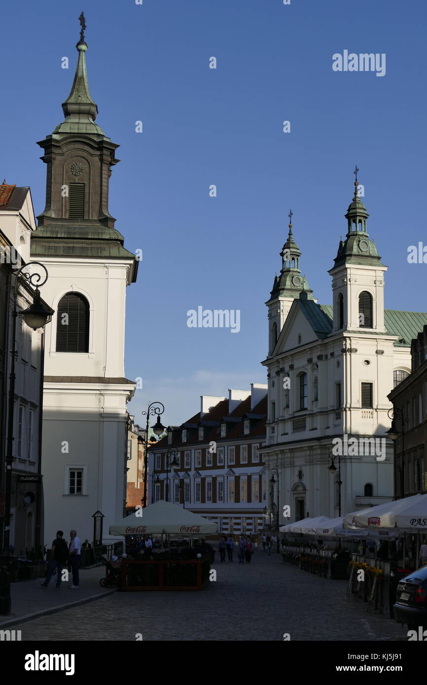 The Church of the Holy Spirit in Warsaw's New Town, Warsaw Poland. originally built in the Gothic style alongside - Stock Image