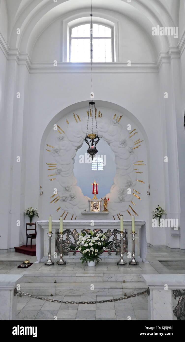 High Altar at St. Kazimierz Roman Catholic church in Warsaw's New Town, Warsaw Poland. In 1688-92 the Kotowski - Stock Image