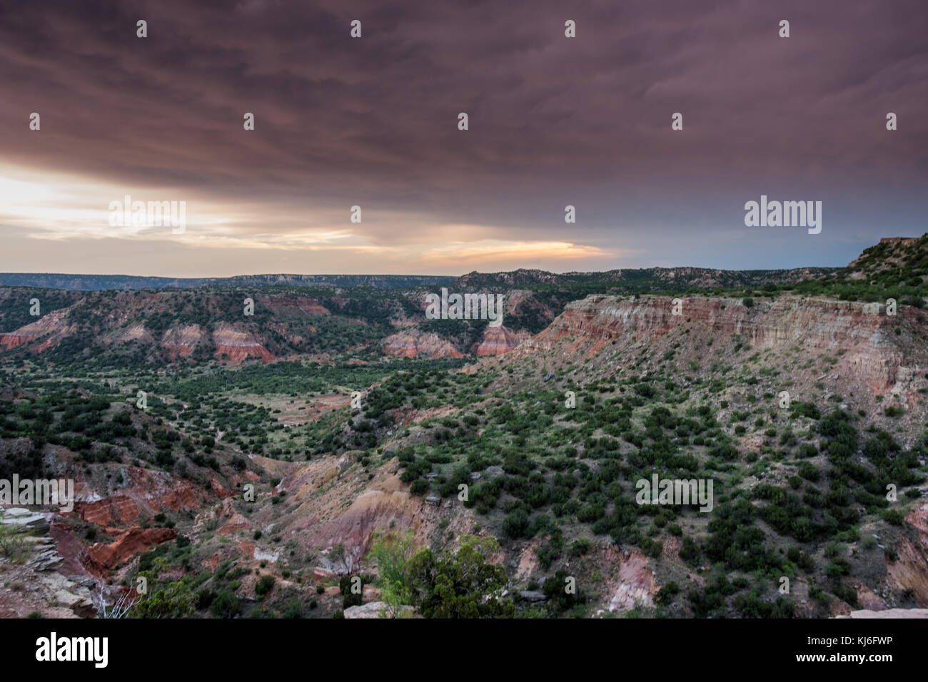Storm Clouds and Sunset Over Palo Duro in west Texas - Stock Image
