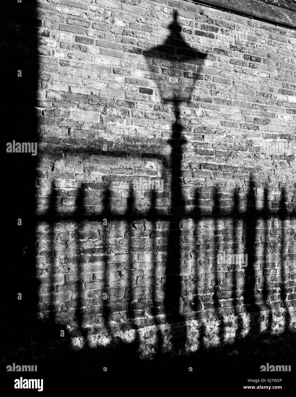 Shadow of lampost in Senate House Passage Cambridge - Stock Image