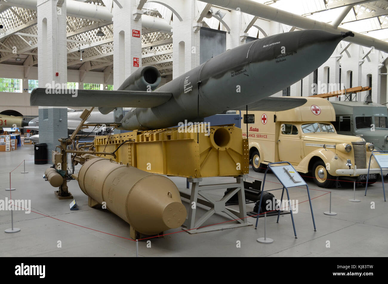V-1 Flying Bomb with launch ramp, Duxford IWM, UK. The Fieseler Fi 103 or V-1 was also commonly known as the Doodlebug - Stock Image