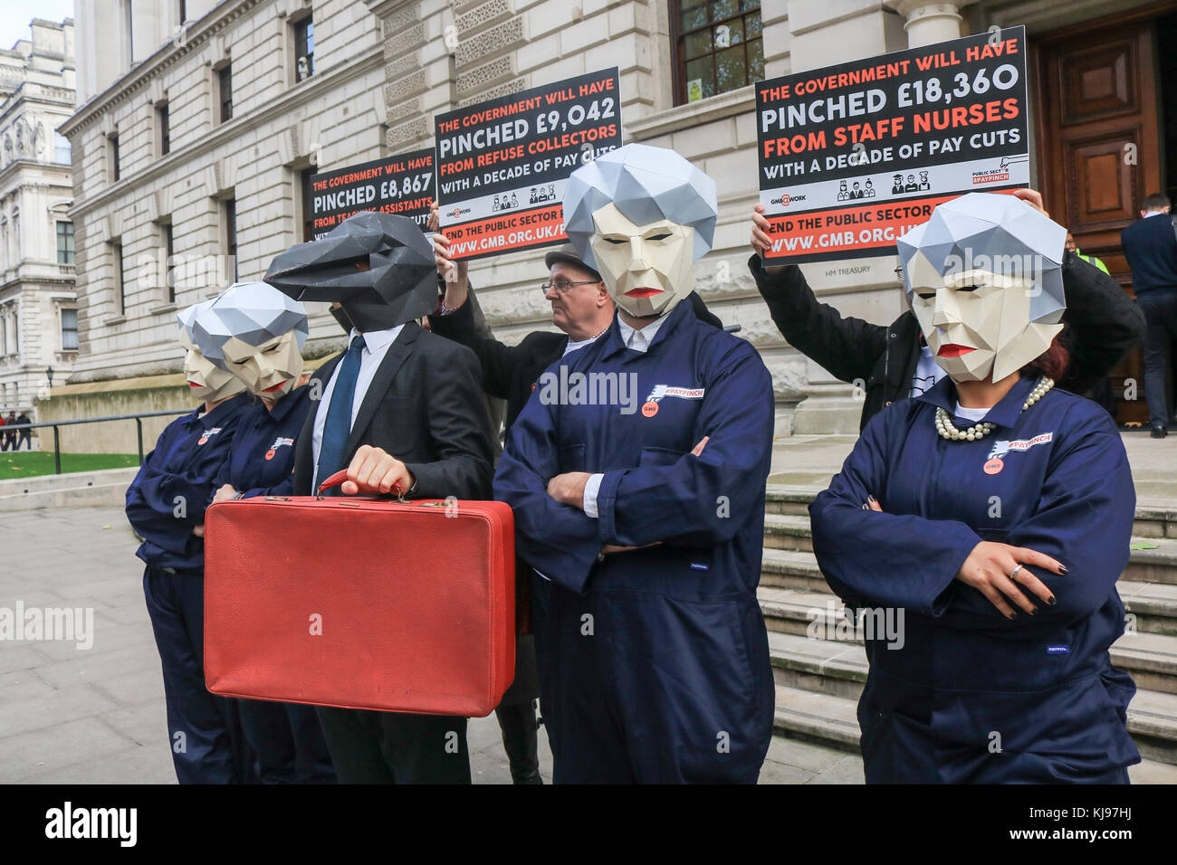 London, UK. 22nd Nov, 2017. GMB Union members  dressed as 'Theresa May' Maybot  memes protest against government - Stock Image