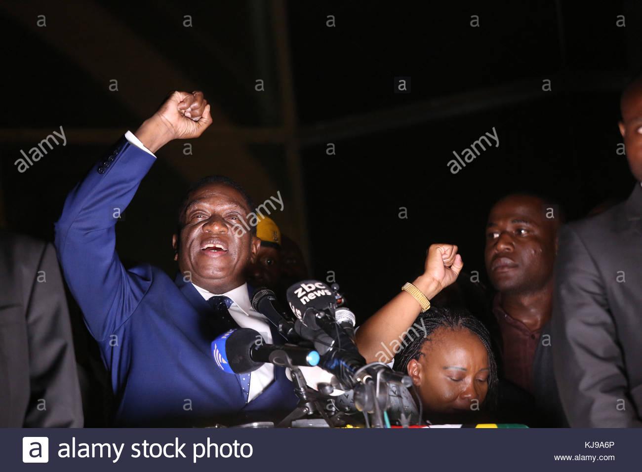 Harare, Zimbabwe. 22nd Nov, 2017. Incoming President Emmerson Mnangagwa speaks to the public at Zanu-PF party headquarters- Stock Image