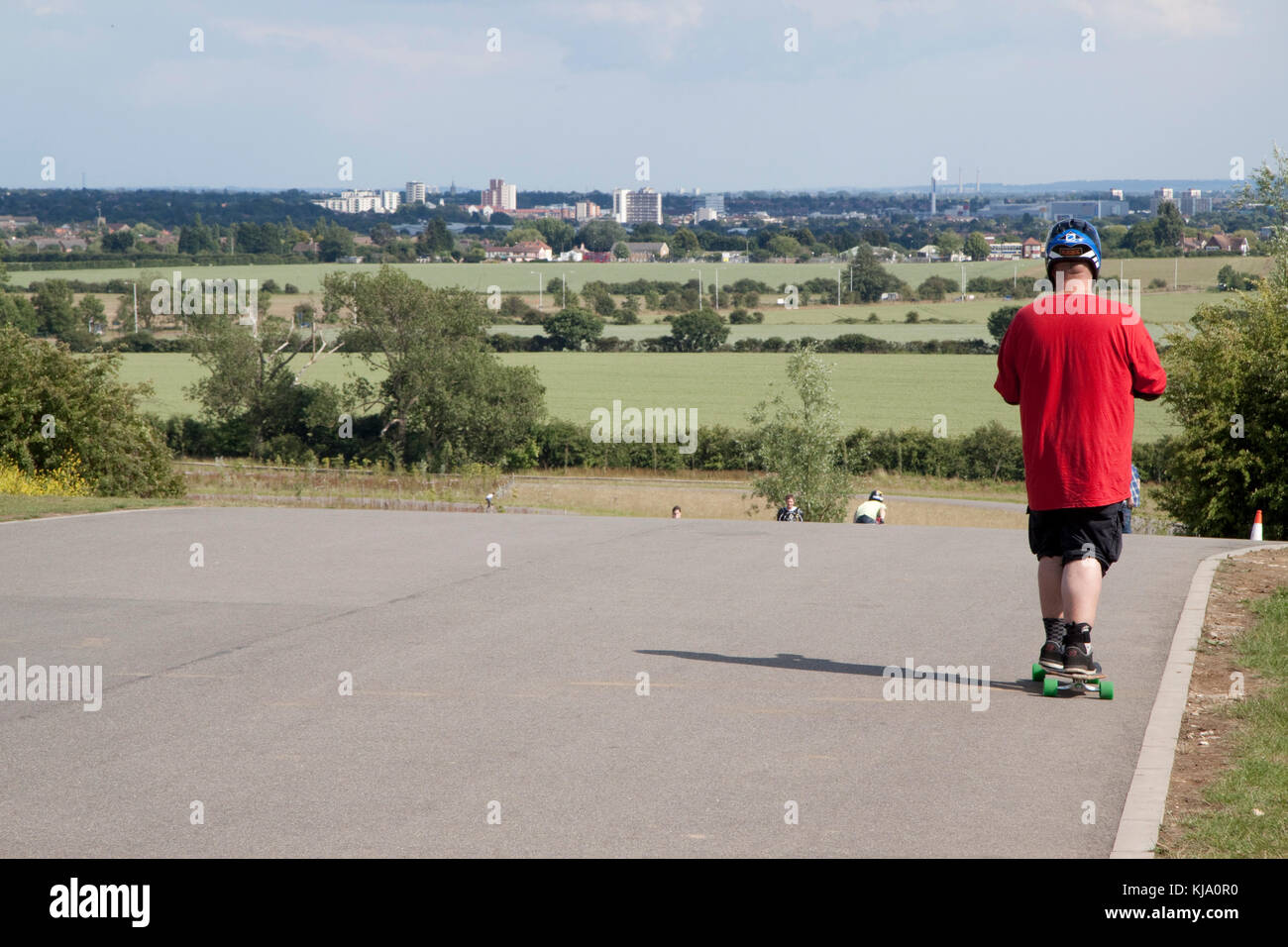 Looking out over Romford, Dagenham, Upminster etc from Redbridge Cycling Centre - Stock Image