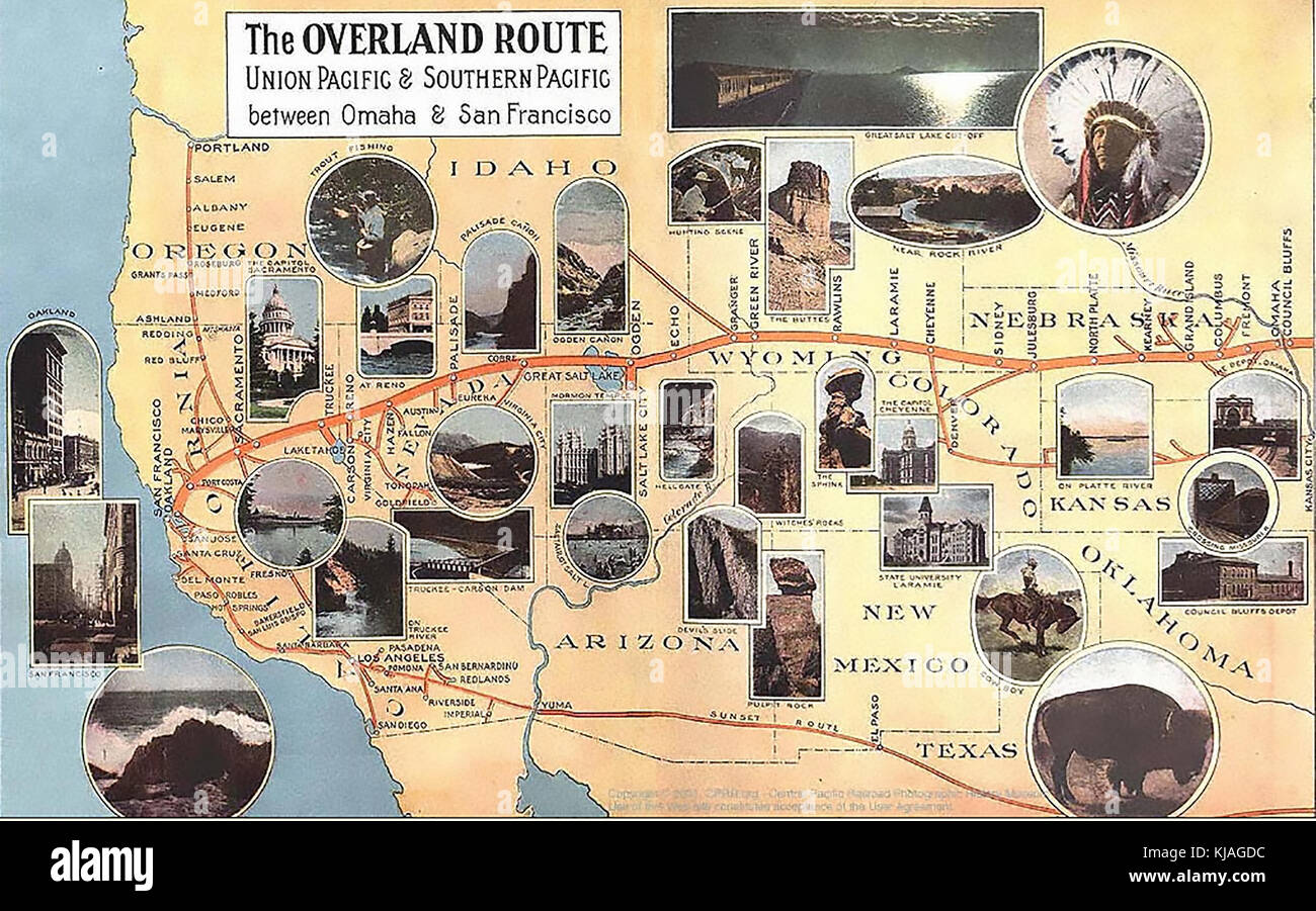 THE OVERLAND ROUTE  American railroad map 1908 - Stock Image