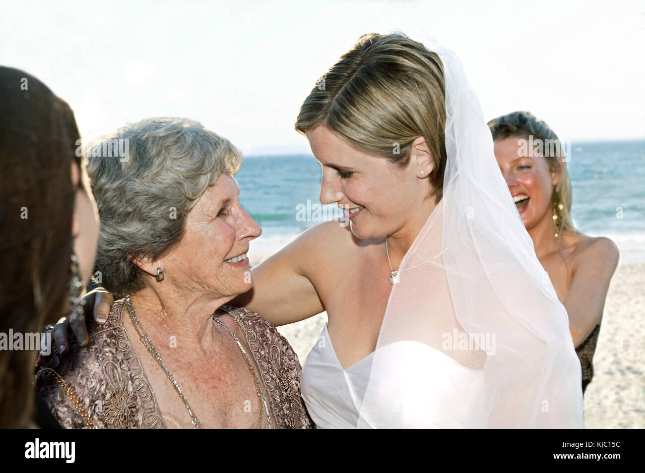 Bride With Mother On The Beach - Stock Image