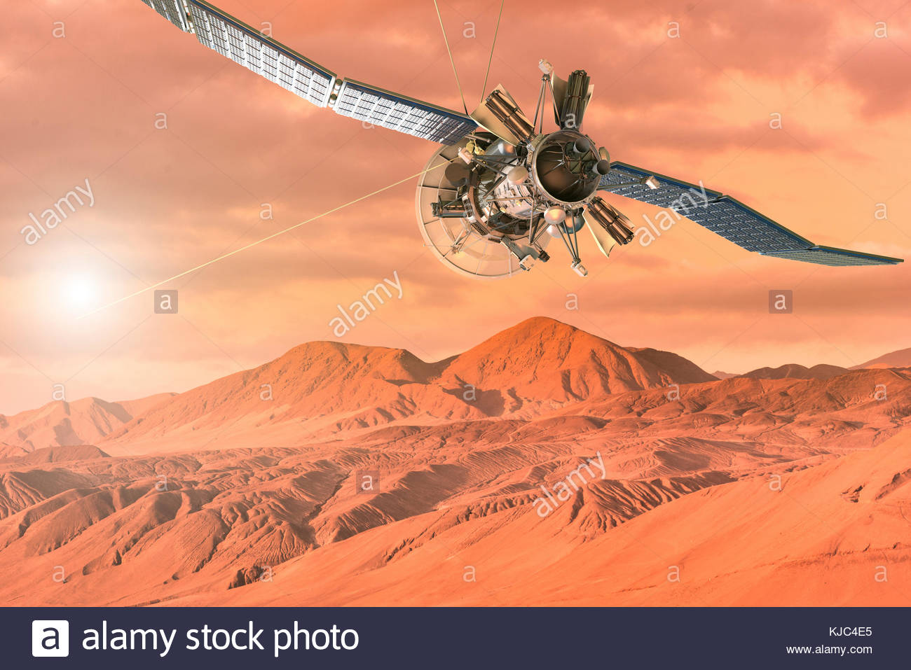 Digital illustration of a space ship exploring the surface of Mars - Stock Image