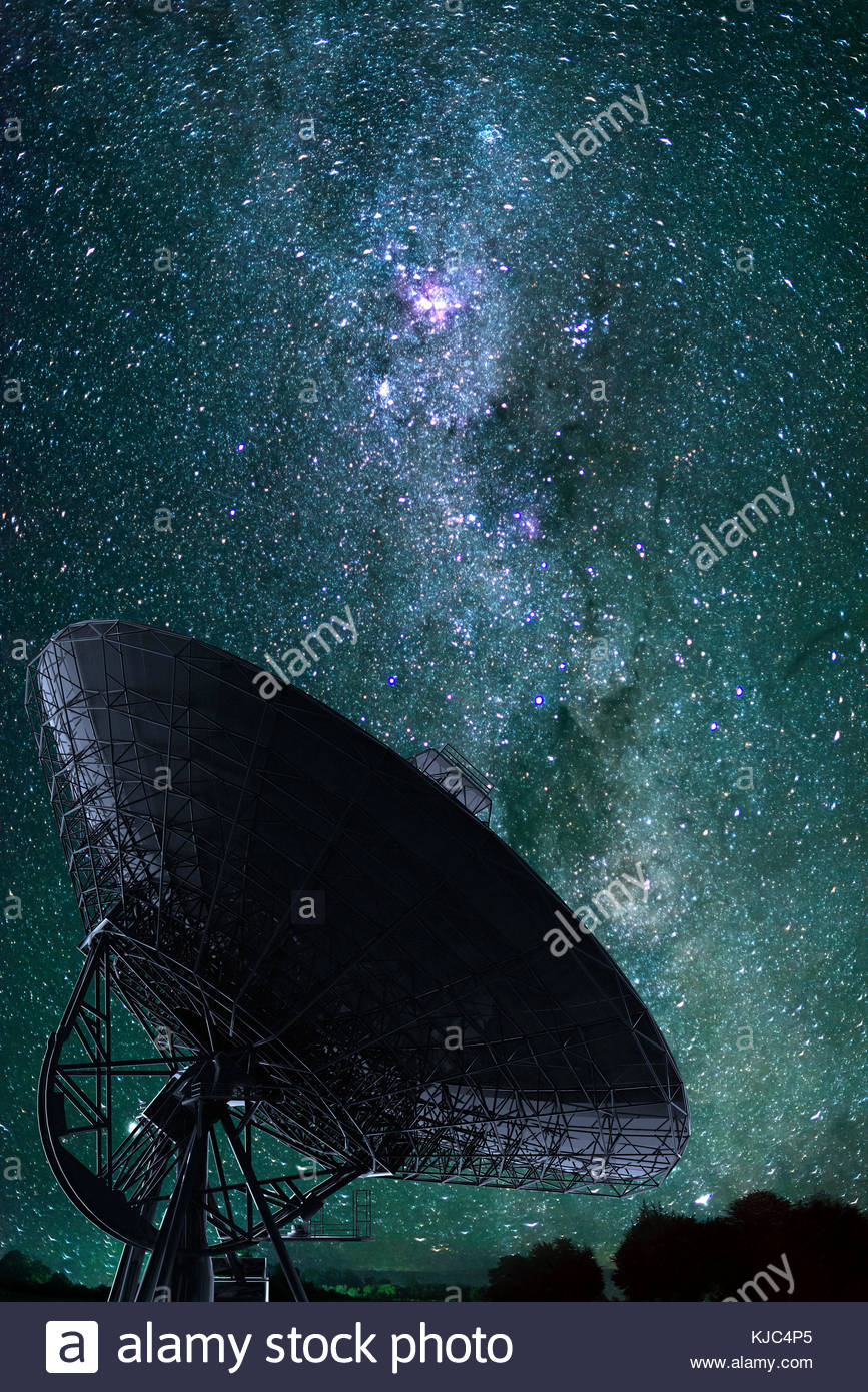Digital illustration of a radio telescope hearing the universe - Stock Image