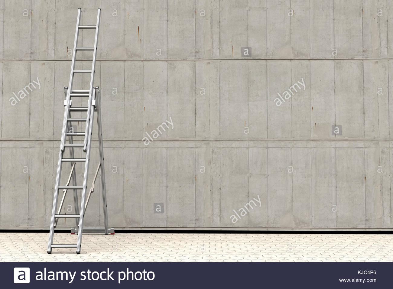 Digital illustration of a portable ladder against a concrete wall - Stock Image