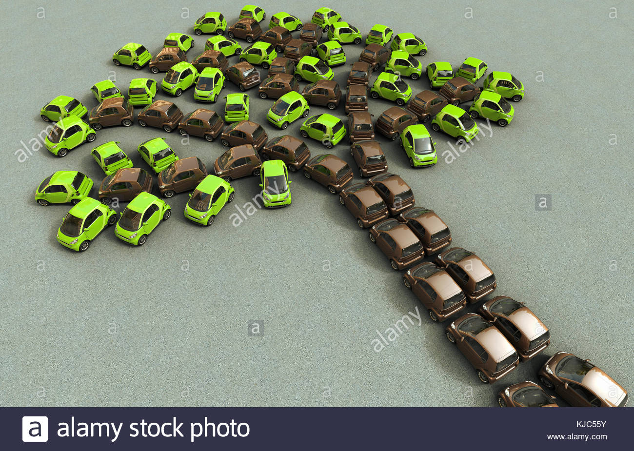 Eco cars parked forming the shape of a tree - Stock Image