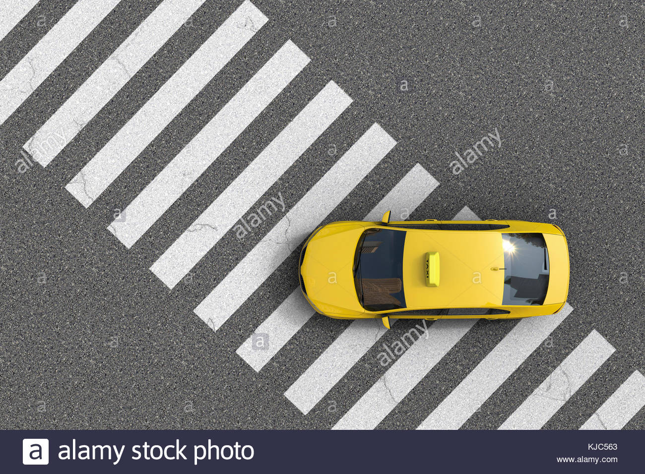 Overhead view of a yellow taxi over a pedestrian crossing - Stock Image