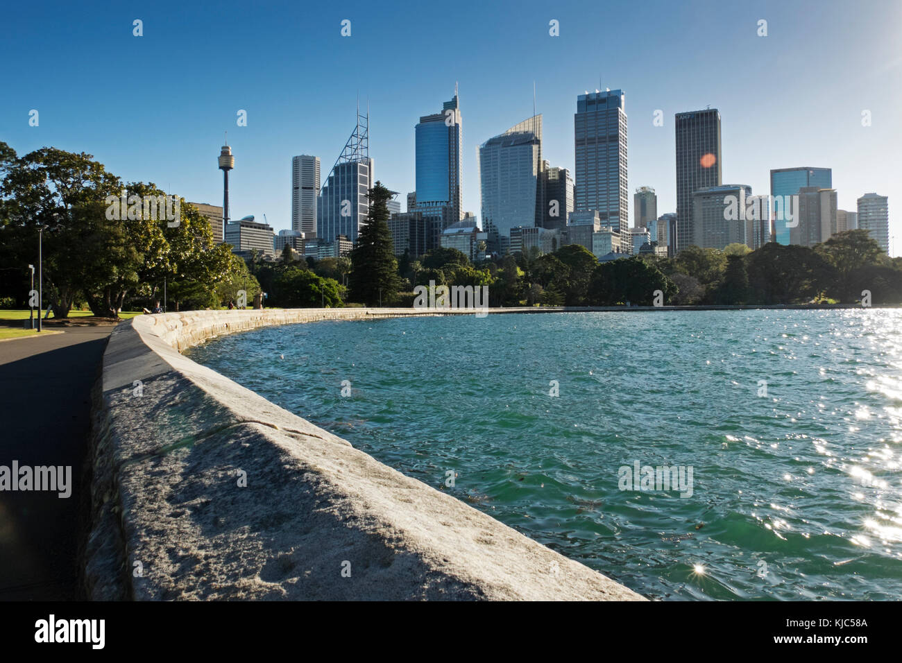 Seawall at Farm Cove with skyline and harbour on a sunny day in Sydney, Australia - Stock Image