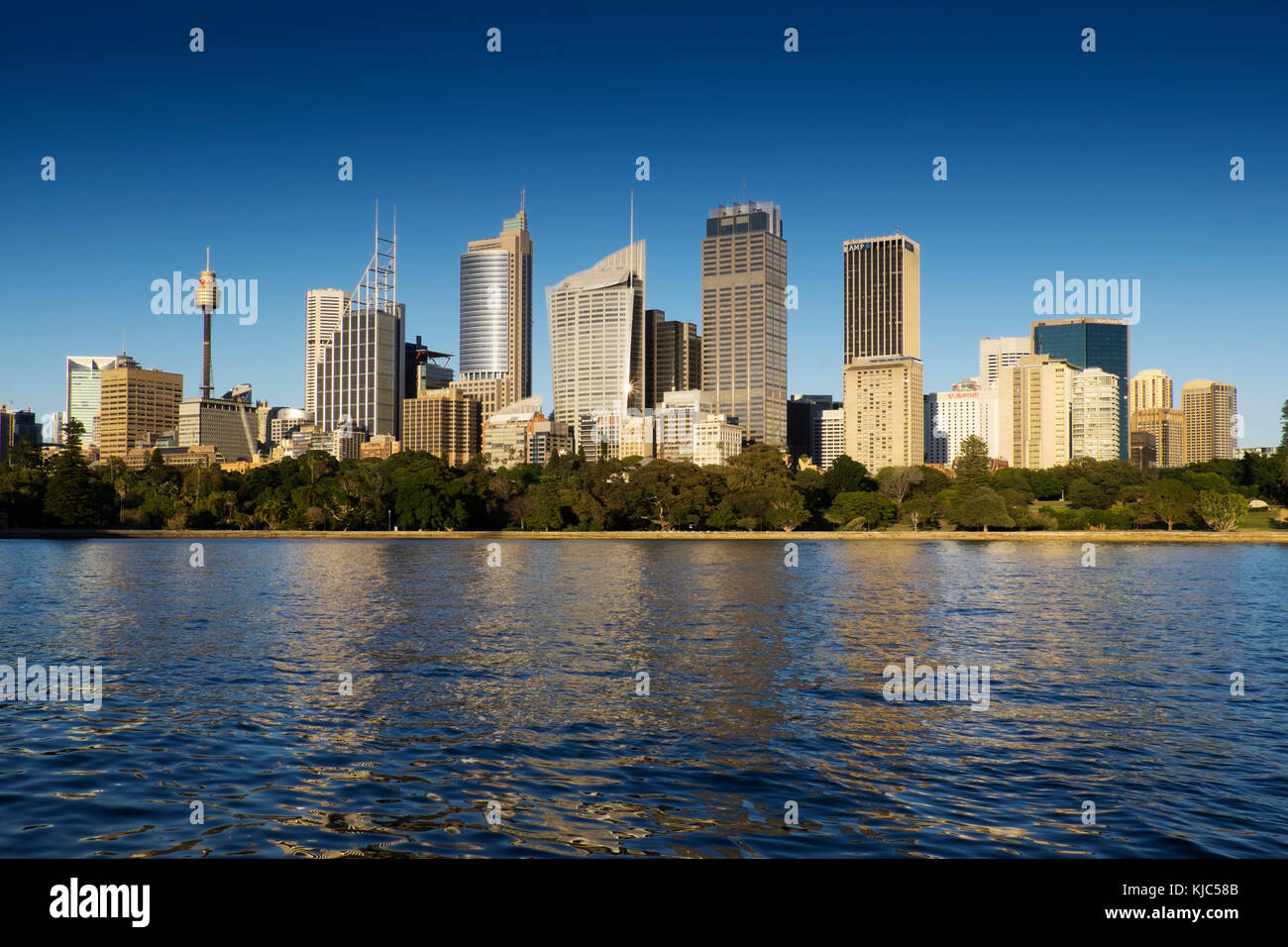 Sydney Harbour and skyline of the Central Business District in Sydney, Australia - Stock Image