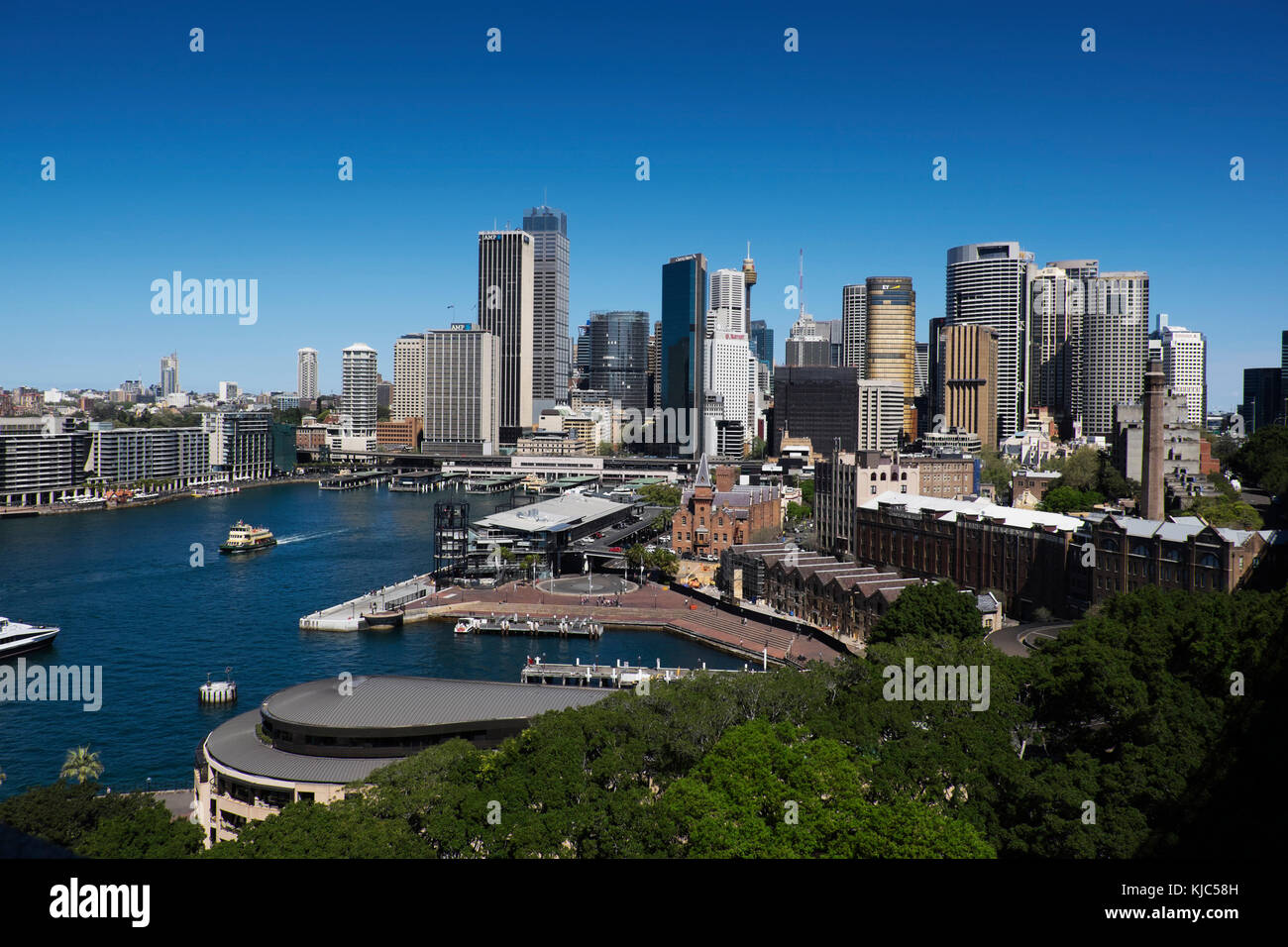 Overview of Circular Quay and skyline of Sydney, Australia - Stock Image