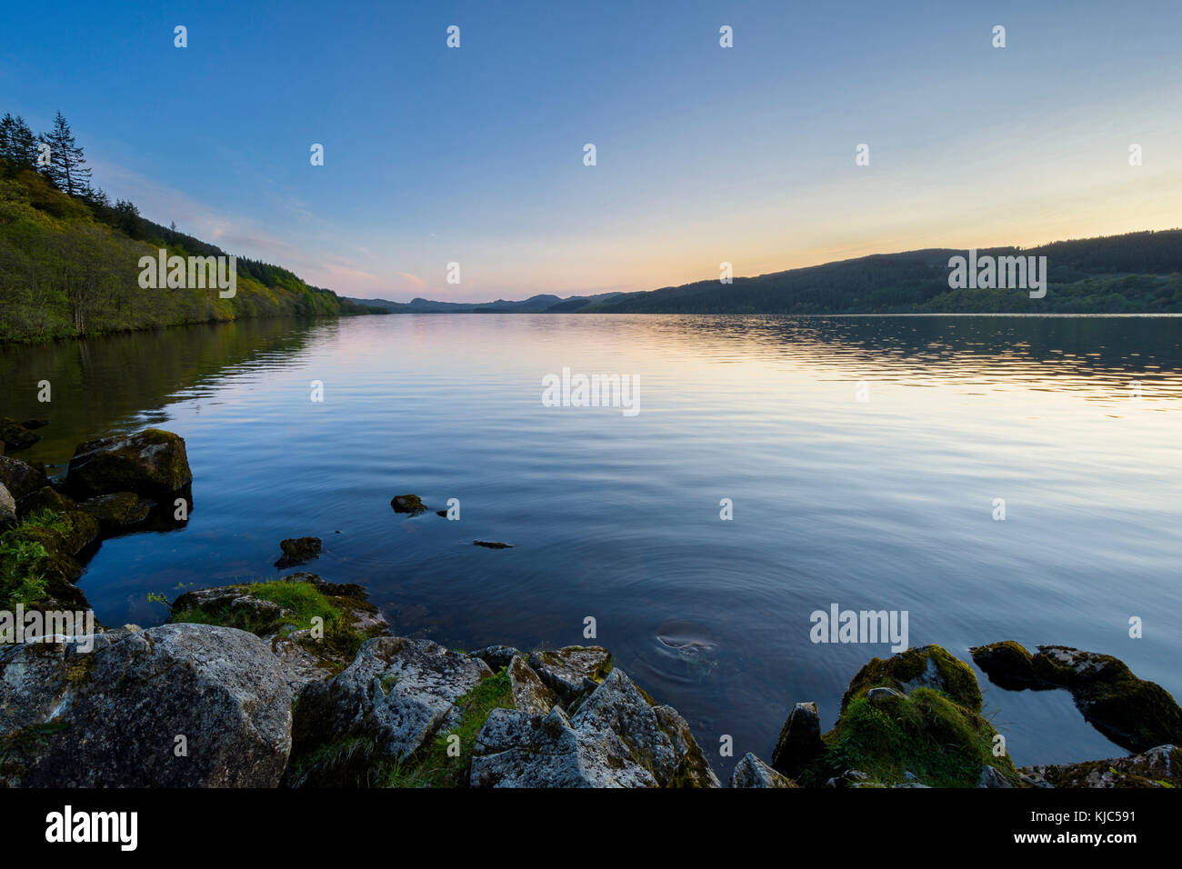 Scenic view of Loch Awe in Argyll and Bute in the Scottish Highlands at dusk in Scotland - Stock Image