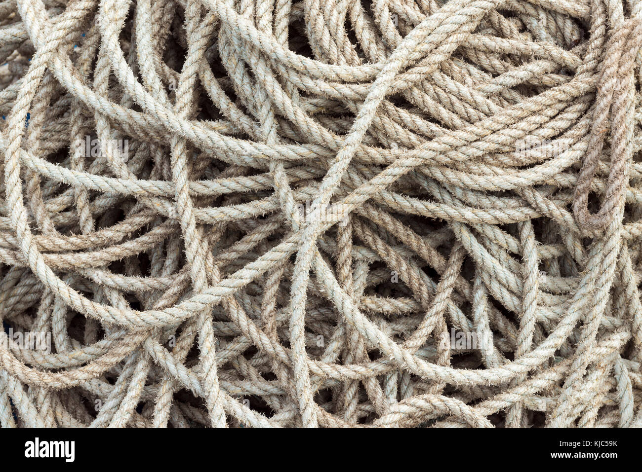 Close-up of a pile of rope in the harbor at Seahouses in Northumberland, England, United Kingdom - Stock Image