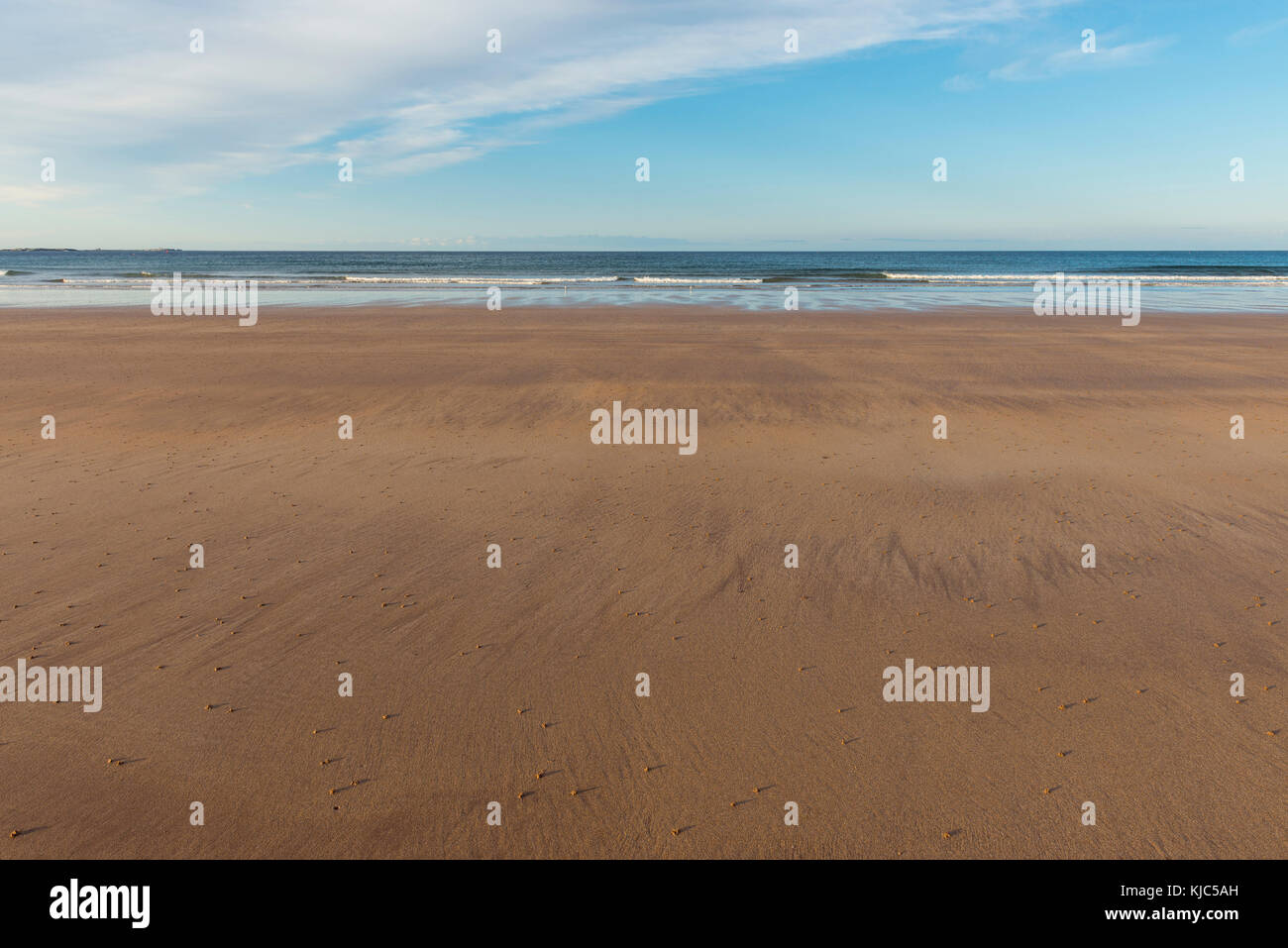 Sandy beach and North Sea at low tide in the morning at Bamburgh in Northumberland, England, United Kingdom - Stock Image