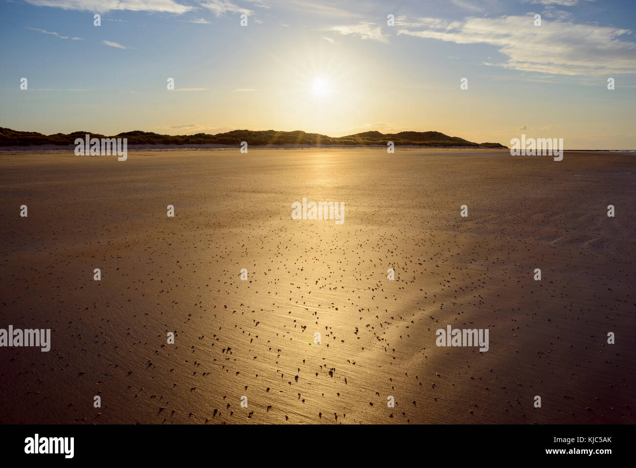 Sun reflecting on the sandy beach at low tide on the North Sea at sunrise, Bamburgh in Northumberland, England, - Stock Image