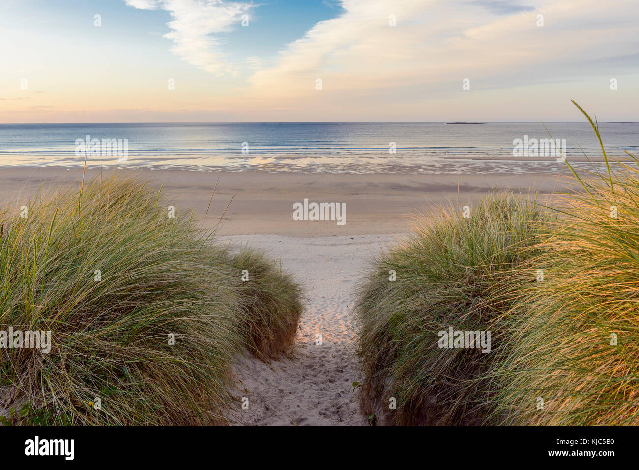 Path through sand dunes to the North Sea at dawn at Bamburgh in Northumberland, England, United Kingdom - Stock Image