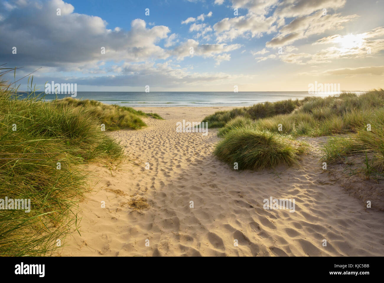 Footprints in the sand along pathway on the beach at sunrise, North Sea in Bamburgh in Northumberland, England, - Stock Image
