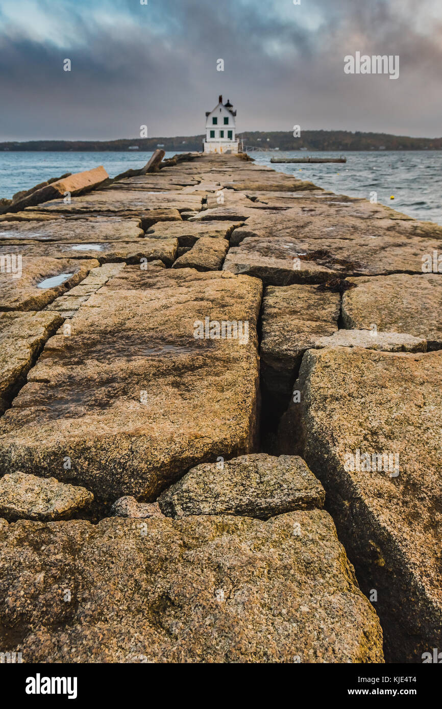 The Breakwater at Rockland Harbor along the coast of Maine - Stock Image
