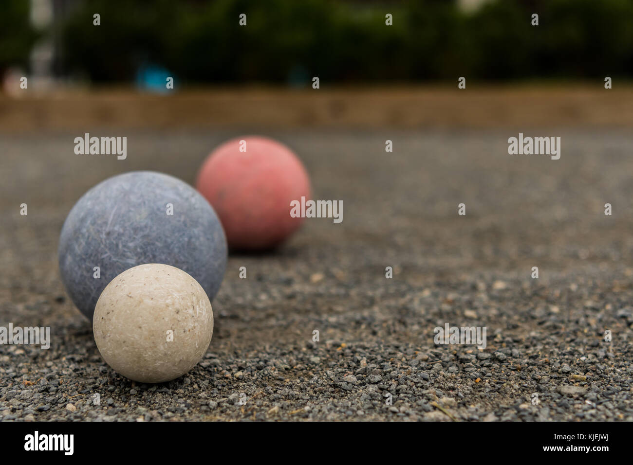 Three Bocce Balls with Copy Space to Right - Stock Image