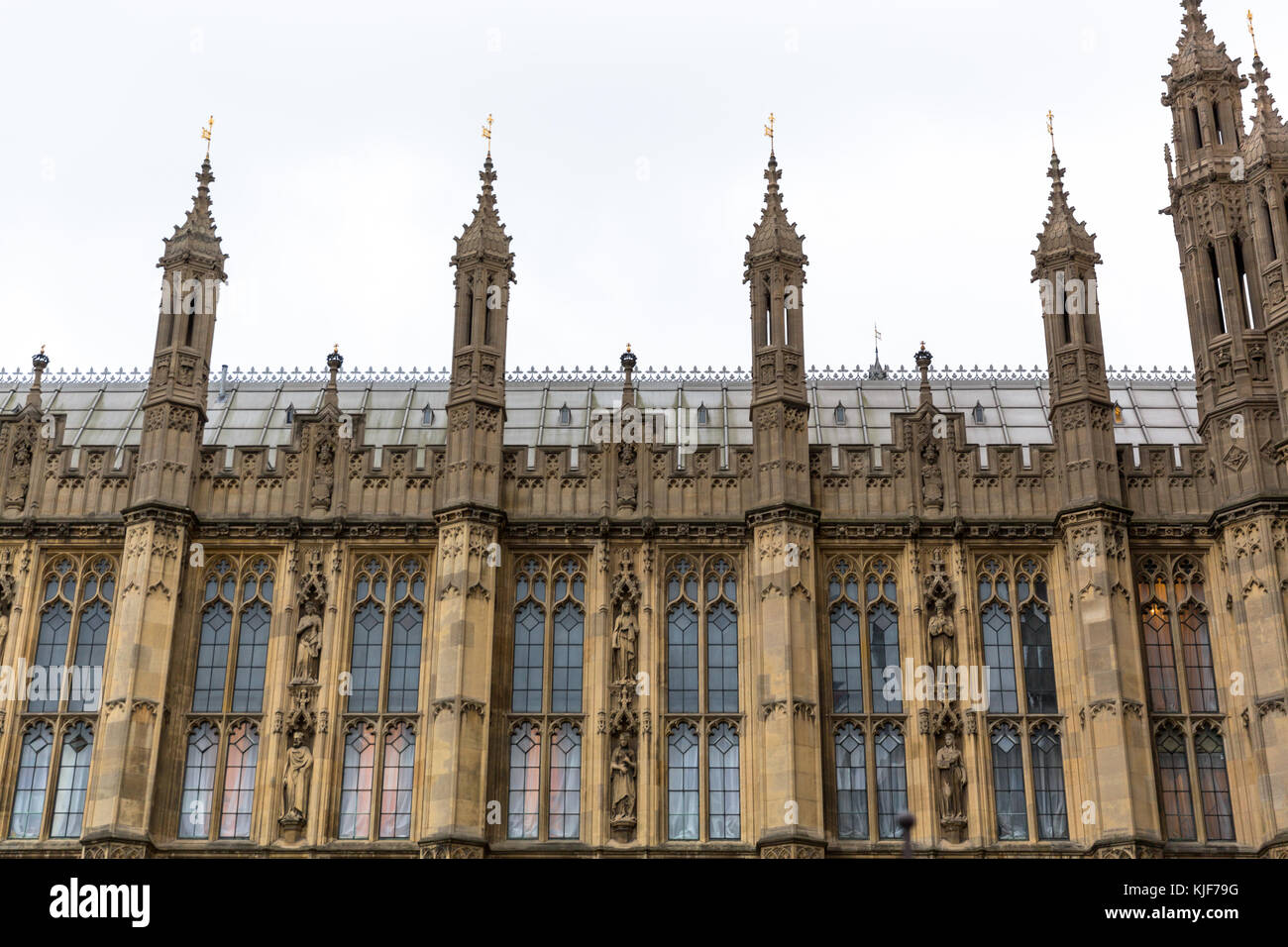 Detail shot of the House of Parliament in London, UK - Stock Image