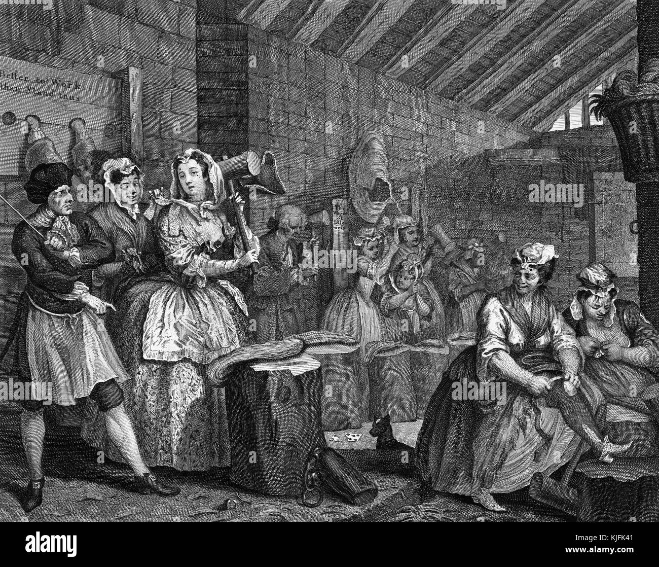 Engraving on paper, titled 'A Harlot's Progress, Plate 4, Moll beats hemp in Bridewell Prison', she - Stock Image