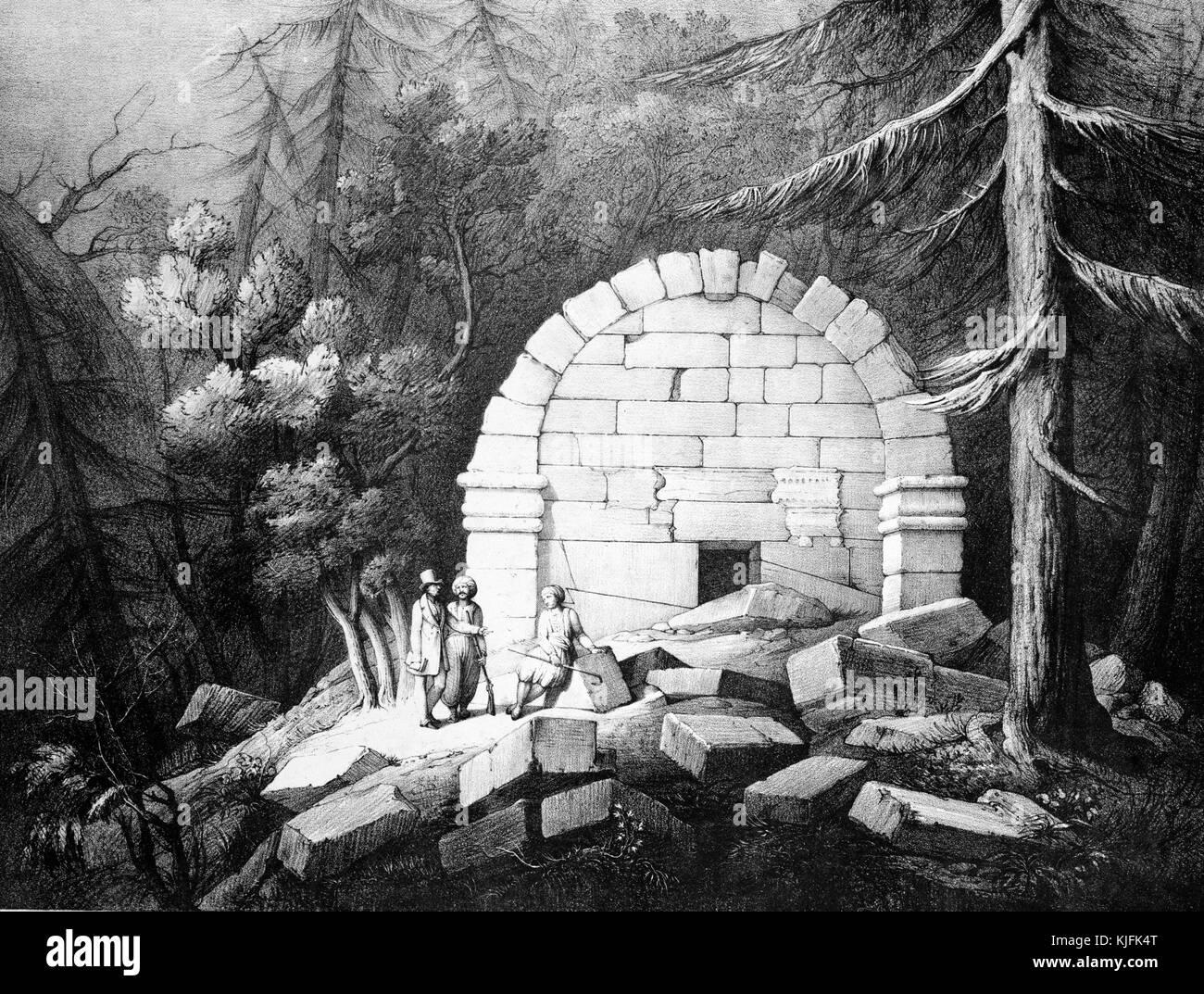 Print titled 'Sepulchral Vault near Affghan-Khiu [Avdan-Tevikiye]', depicting a vault construted of white - Stock Image