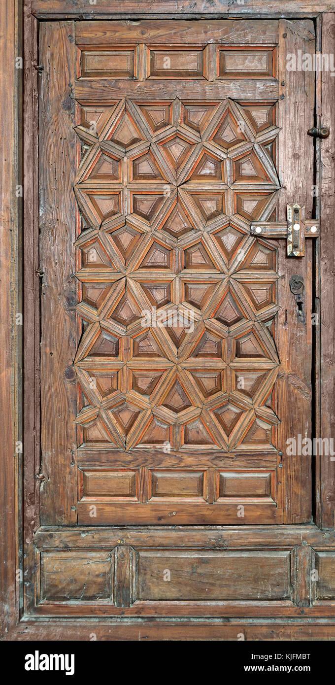 Wooden ornate door at Best El Sehemy, Cairo, Egypt - Stock Image