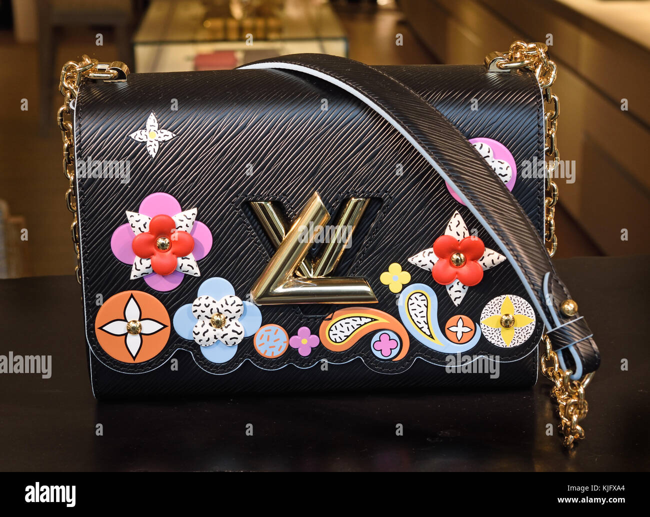 Shop Window Louis Vuitton Florence Italy ( Louis Vuitton French Fashion House Paris France  ) - Stock Image