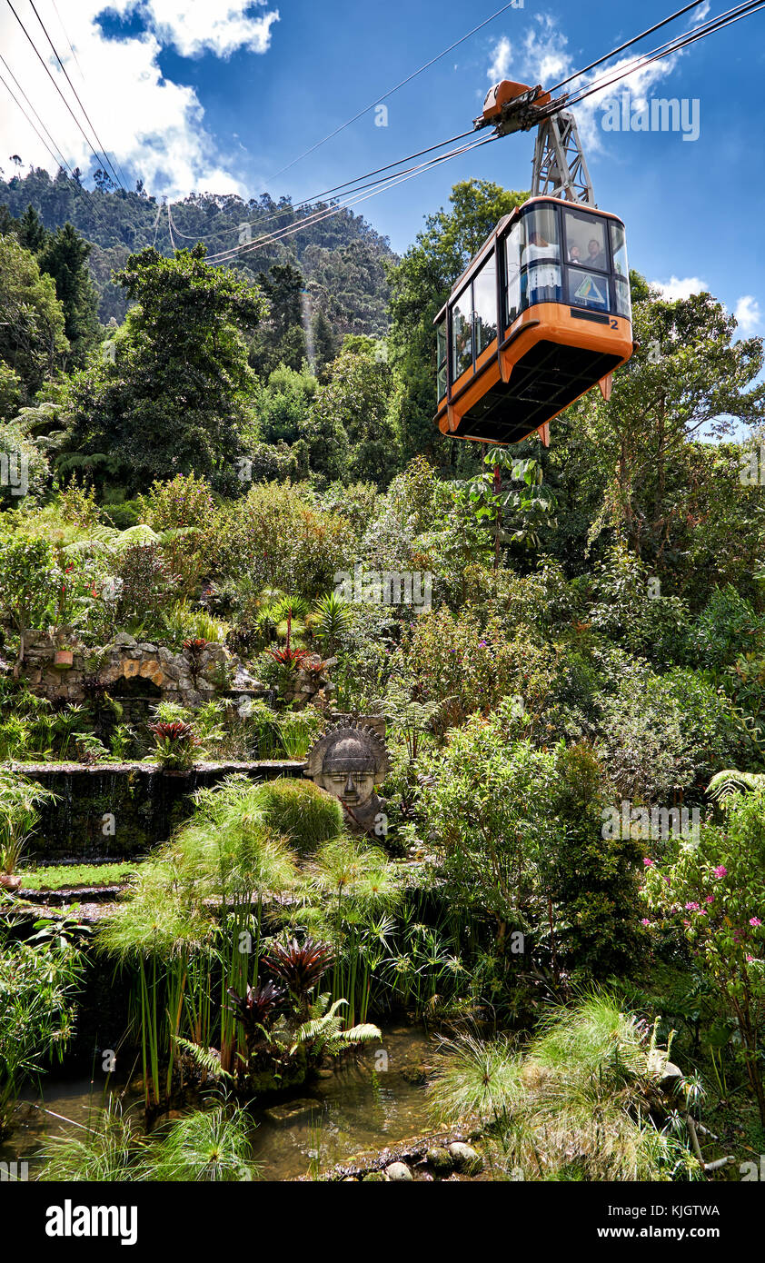 garden at cable car, Bogota, Colombia, South America - Stock Image