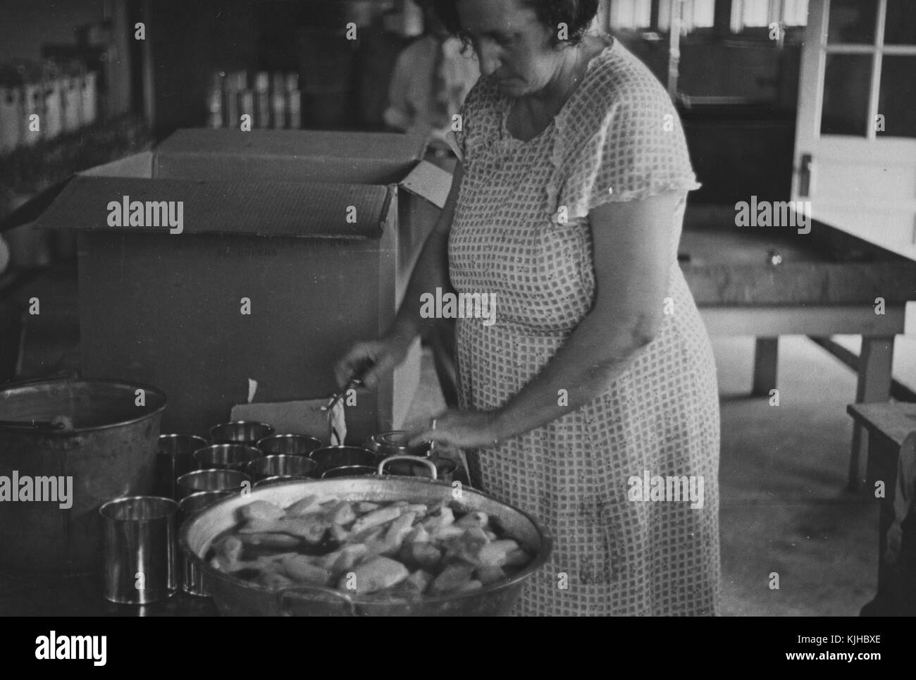 Black and white photograph of a woman working in a kitchen, canning, in Dyess Colony, one of the most famous resettlement - Stock Image