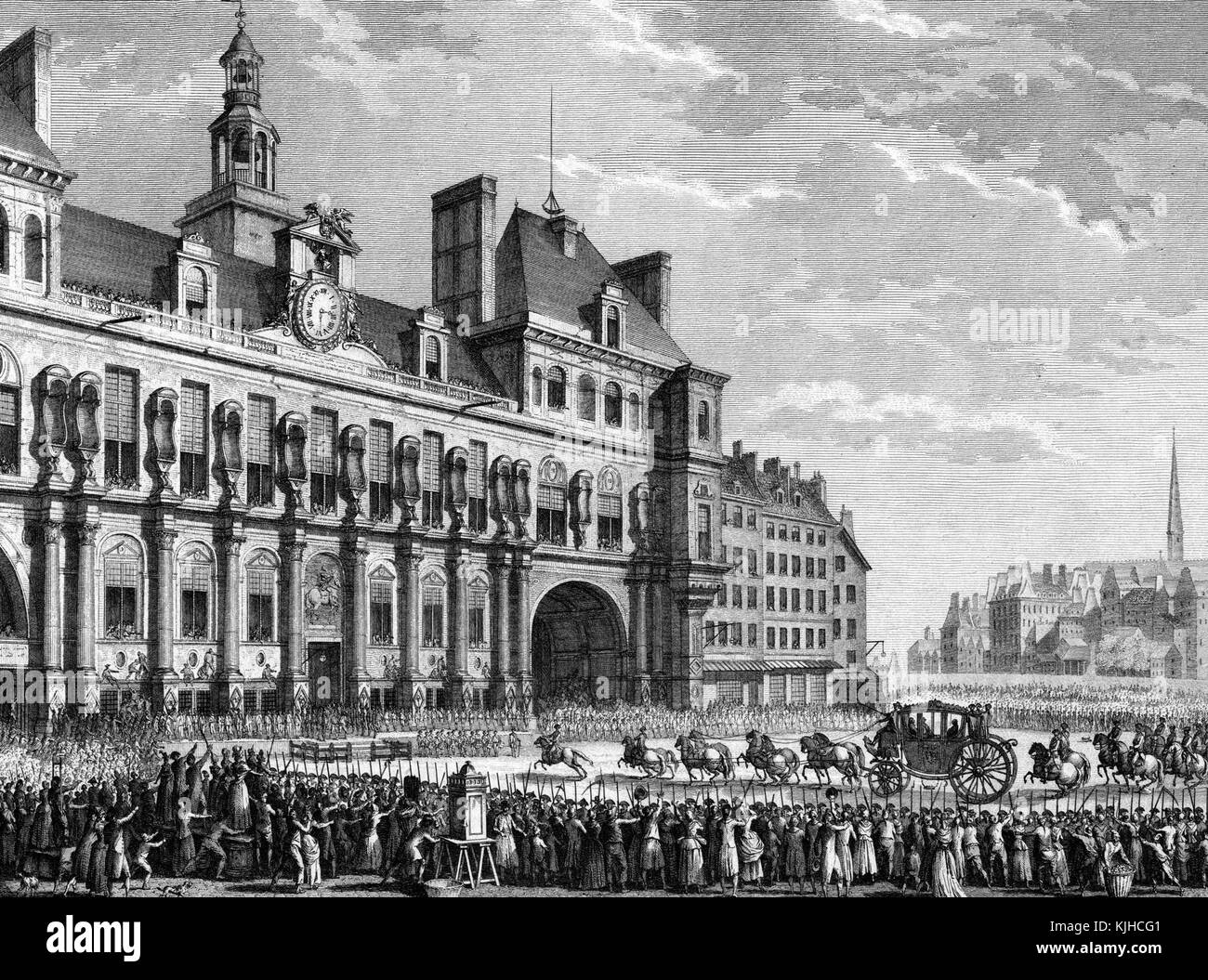An etching from a painting of King Louis XVI arriving at Hotel de Ville, the military was present to control a large - Stock Image