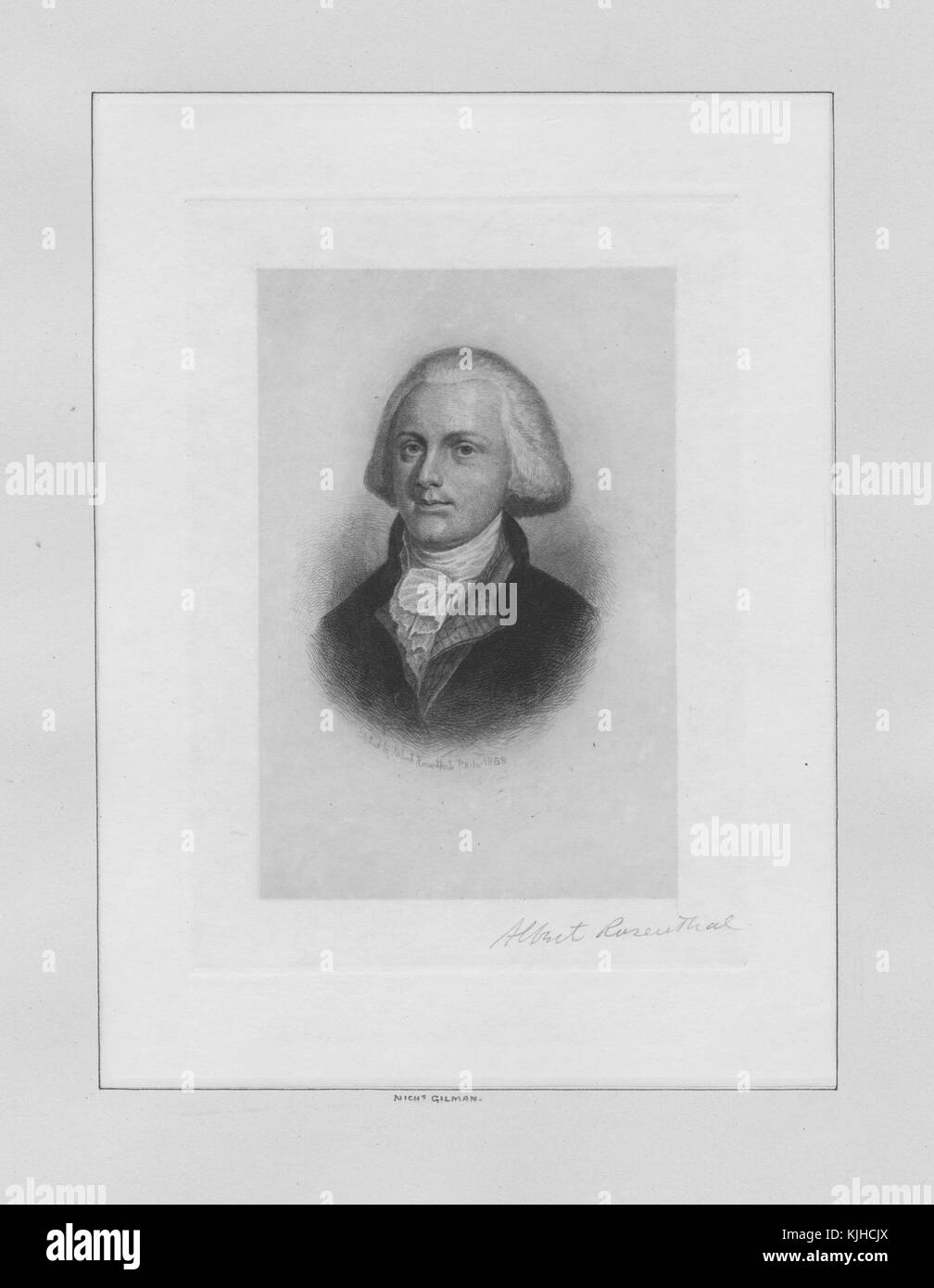 An etching from a portrait of Nicholas Gilman, he was New Hampshire born soldier and politician, he served closely - Stock Image