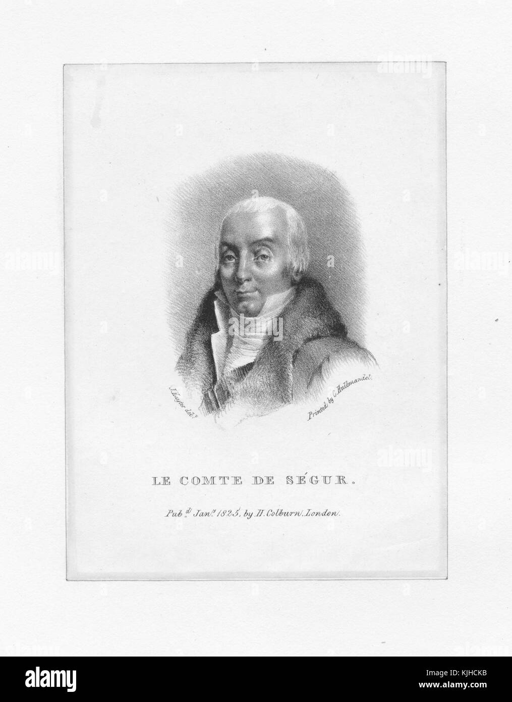 A etching from a portrait of Louis Philippe, comte de Segur, he was a French soldier and politician, he served in - Stock Image