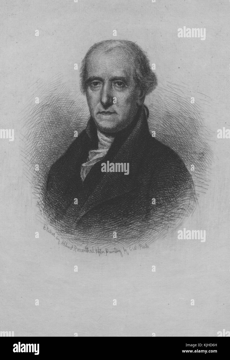 An etching from a portrait of Jared Ingersoll, he was an American lawyer, he served as a delegate from Pennsylvania - Stock Image
