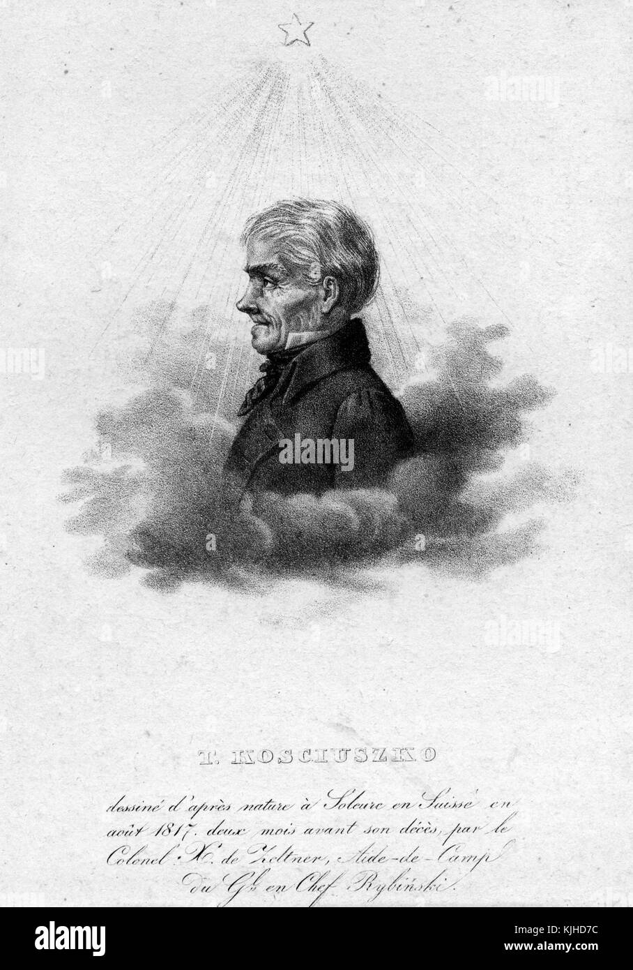 An etching from a portrait of Tadeusz Koand#347;ciuszko, he was a Polish-Lithuanian military engineer and leader, - Stock Image